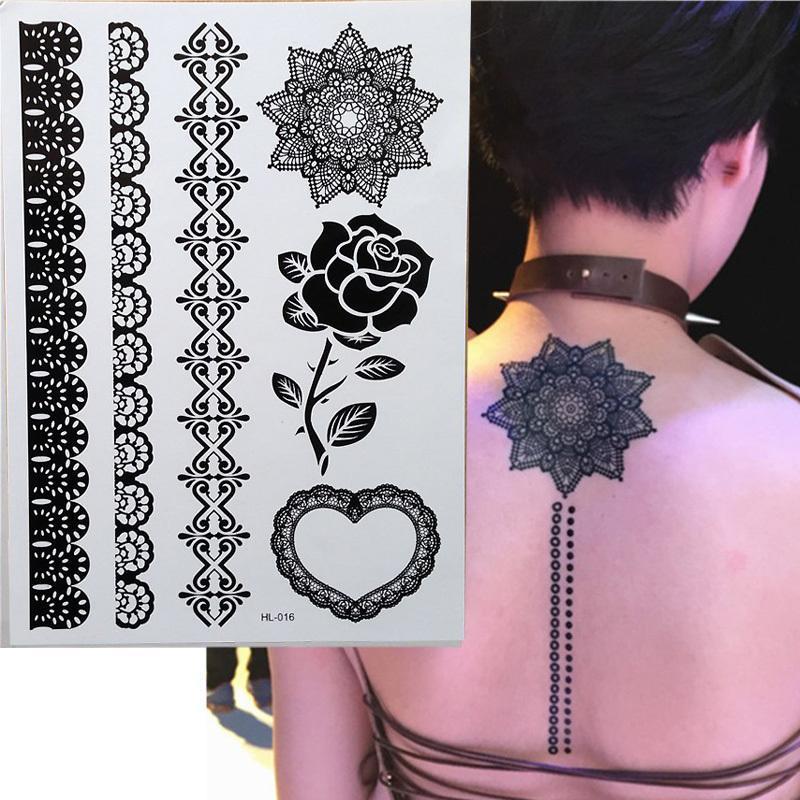 1 morceau roses noires de henné tatouage temporaire pour les mains de dentelle inspiration autocollants de corps