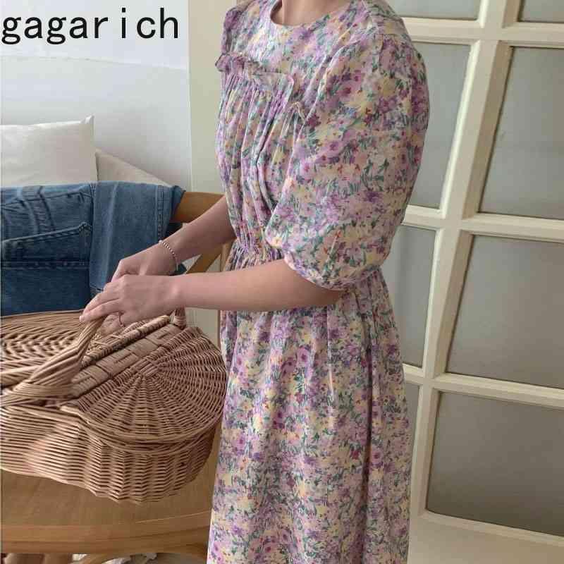 Mulheres Vestidos Verão Francês Doce Temperamento Feminino Ruffle Stitching Puff Manga Curta Chiffon Vestidos 210506
