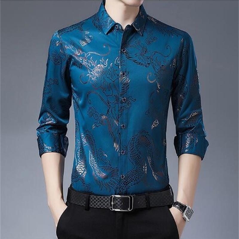 Camisa de manga larga impresa para hombre primavera y otoño negocio suelto casual pulgada delgada pulgada de padre