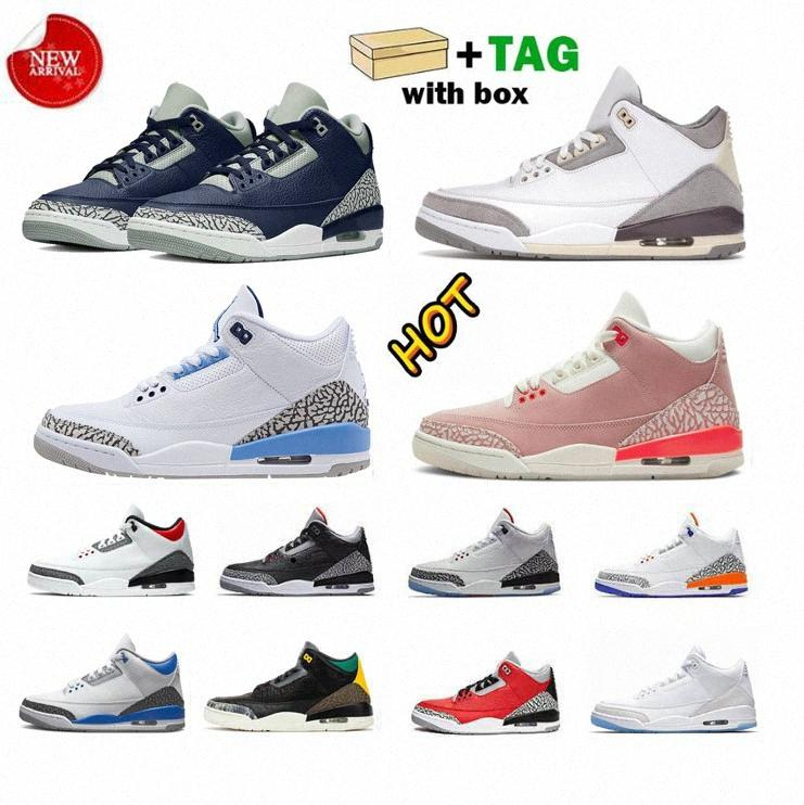 Erkek 3 Jumpman Basketbol Ayakkabıları 3 S En Kaliteli Bayan Pas Pembe Racer Mavi UNC Midnight Navy Georgetown Siyah Çimento Serin Eğitmenler Sneakers 40-47
