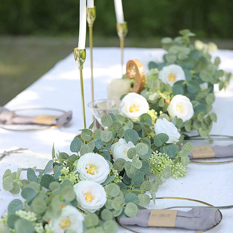 200cm wedding decorations Artificial Plant Flowers Eucalyptus Garland With White Roses Greenery Leaves Backdrop Party Wall Table Decor