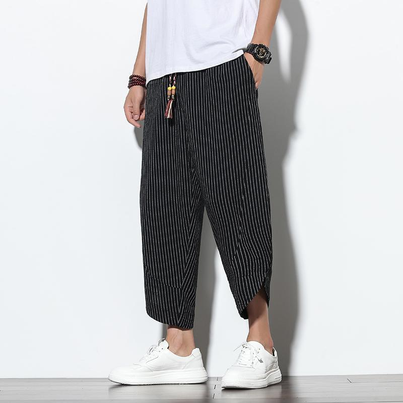 Erkek Yaz Keten Pamuk Harem Pantolon Jogger Casual Gevşek Çizgili Ayak Bileği Moda Stil Pantolon Erkekler