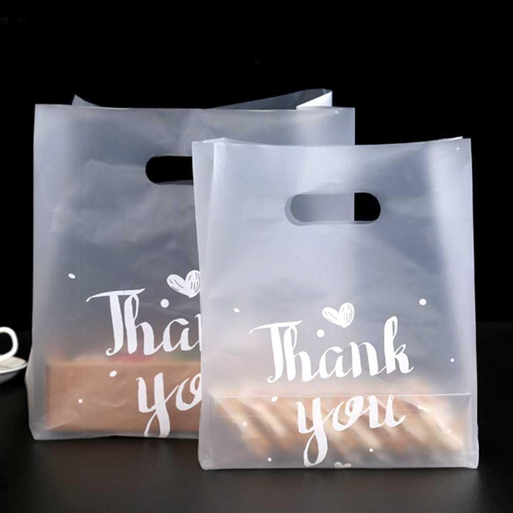 Obrigado sacos de presente de plástico, sacos de compras plásticos, sacos de varejo, saco de festa 50 pcs / lote 210724
