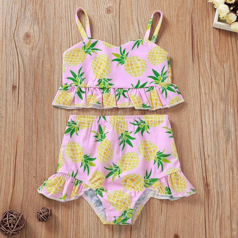 유아 키즈 아기 소녀 수영복 파인애플 프린트 프릴 조끼 + 반바지 복장 여름 수영복 원 - 조각