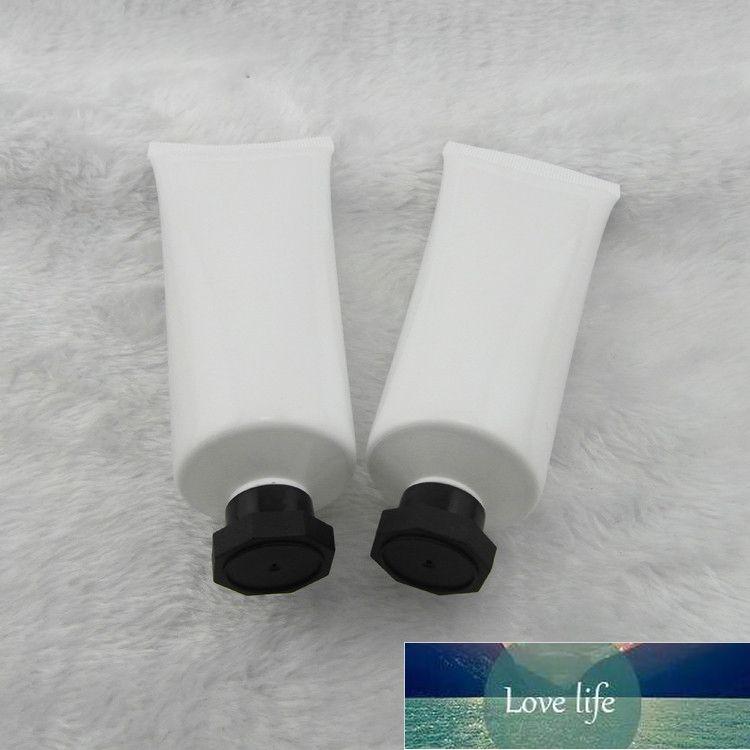 80 ml 50 adet parlak beyaz plastik tüp / siyah spiral sekizgen kap / emülsiyon krem tüp / PE kozmetik ambalaj boş şişeler