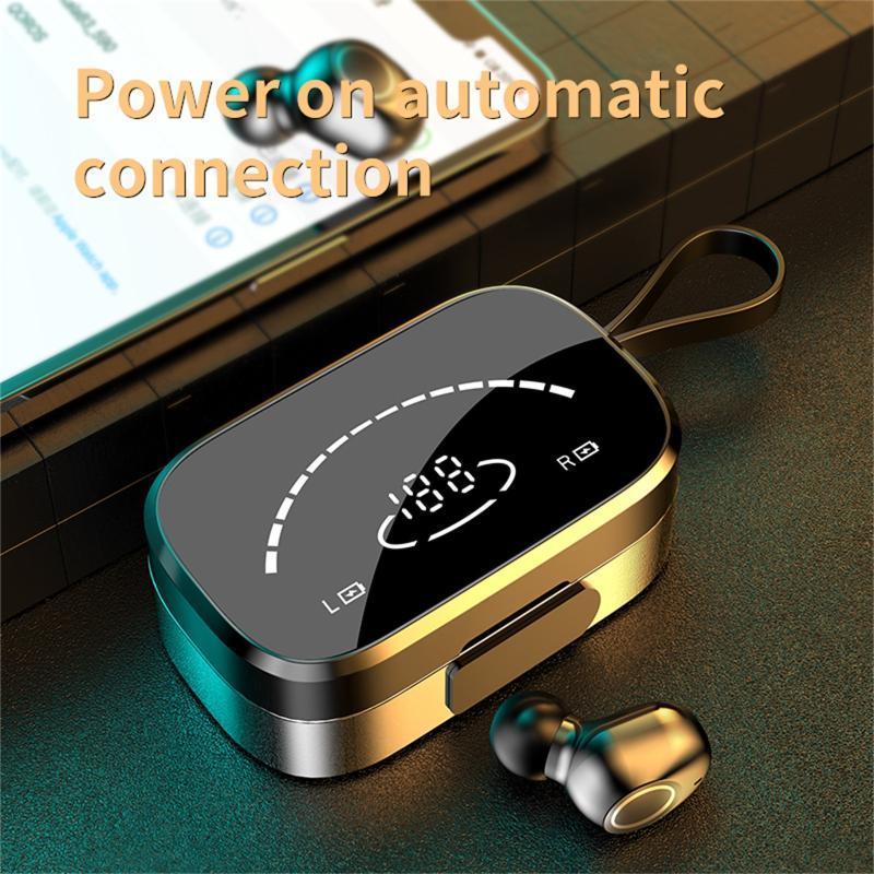 Casques sans fil Bluetooth Écouteurs à oreilles haute définition Miroir Haute Défilé Display Digital Écouteurs Tête de jeu pour téléphone