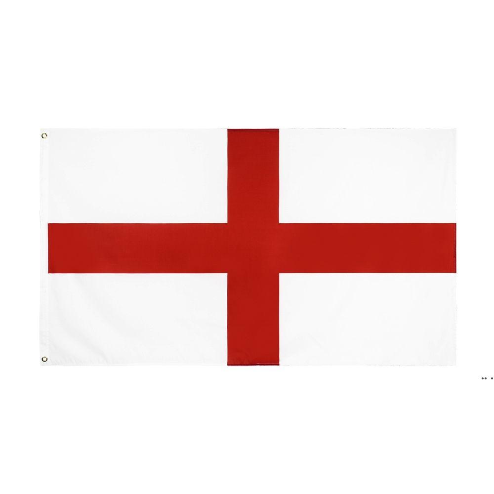 Fabrik direkt Großhandel doppelt genäht 3x5FTs 90 * 150 cm rot kreuz uk england flagge für dekoration hwd5716