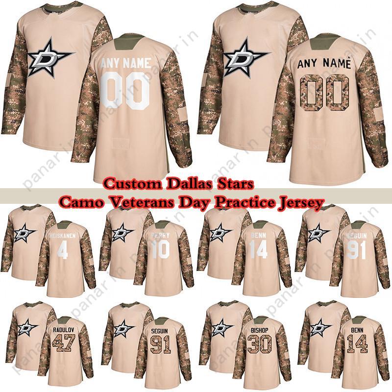 Custom Camo Veterans Dia Prática Dallas Estrelas Hóquei Jerseys 91 Tyler Seguin 14 Jamie Benn 30 Ben Bispo 10 Corey Perry 16 Pavelski Qualquer número e nome