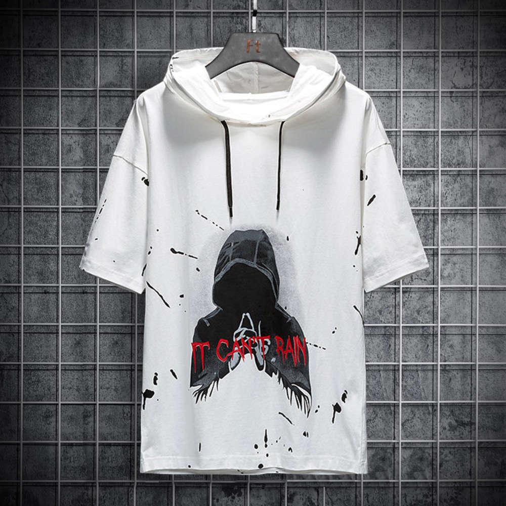 Summer men's short sleeve sweater fashion trend hooded T-shirt youth student trend loose short sleeve T-shirt