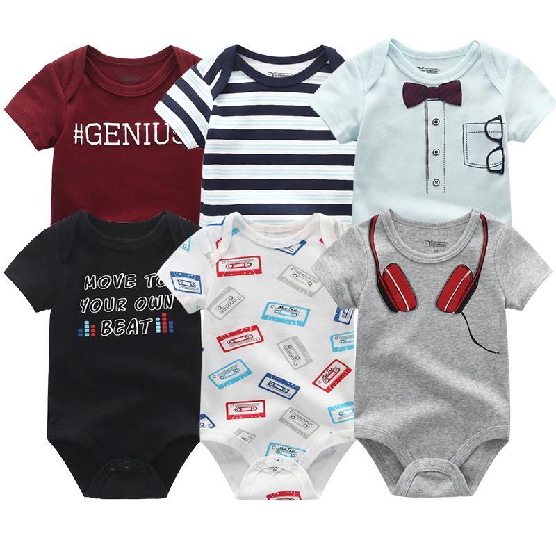 6 STKS / Partij Zomer Pasgeboren Baby Panty Korte Mouw Jongens En Meisjes Panty Katoen Baby Pajama Babykleding