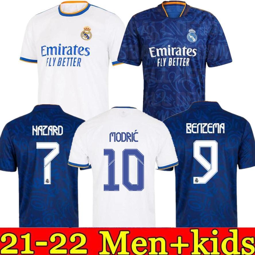Echte Madrid-Trikots 21 22 Fußball-Fußball-Hemd-Harmonde Harmard Sergio Ramos Benzema Camiseta Männer + Kinder Jersey Kit 2021 2022 Vierter 4. Händel