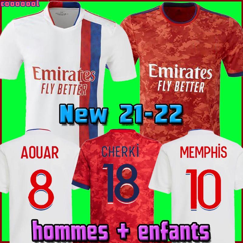 Olympique Lyonnais Lyon Soccer Jersey 21 22 Mailleot De Foot 2021 2022 Mailleots de Football Shirt Traore Memphis OL Men + Kids Kit Oryms