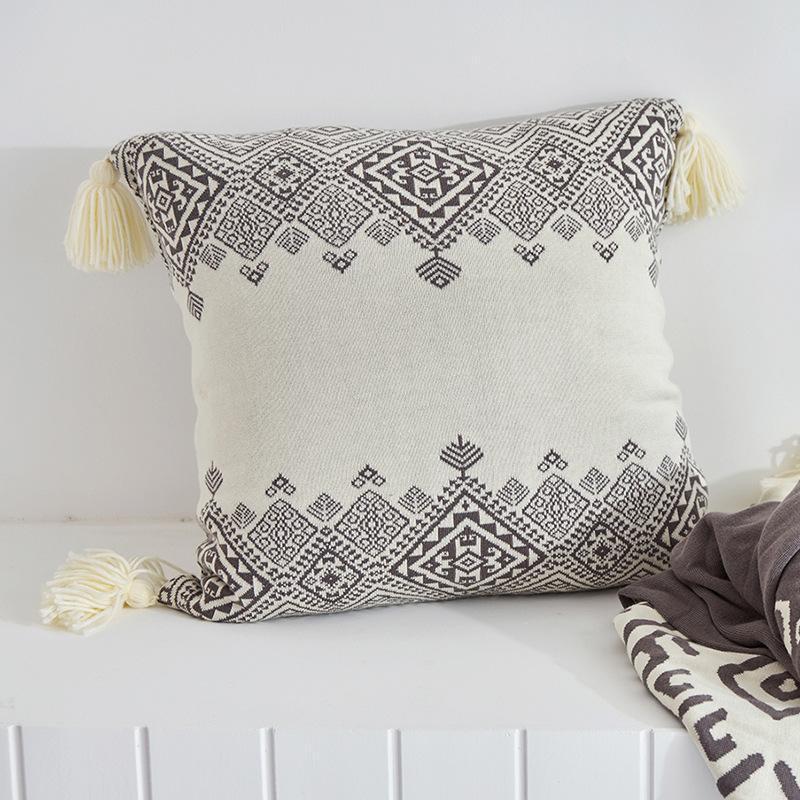 Coussin de coussin tricoté Coque carrée Cojines Cojines Simple Bohême Tissage géométrique Art chaud Sofa Sofa Chaise Coussin / Décoratif