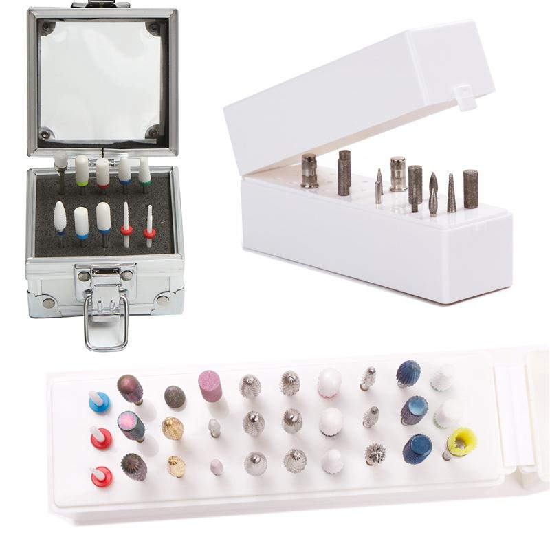 30 Gaten Nail Boor Bits Houder Aluminium Stand Display Rack Opbergdoos Case Container Frees Cutter Manicure Tool Accessoires Hoge kwaliteit ABS