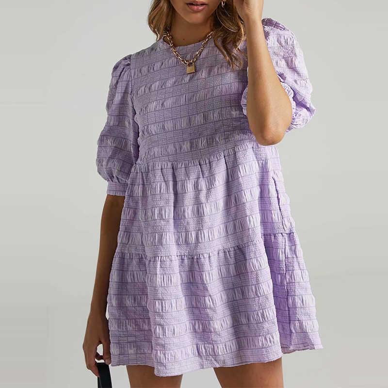 ZA Sommer Frauen Europa und Amerika Einfachheit Lose Blase Gitter Kleid Laterne Kurzarm Chic Weibliche Minikleid Vestidos 210603