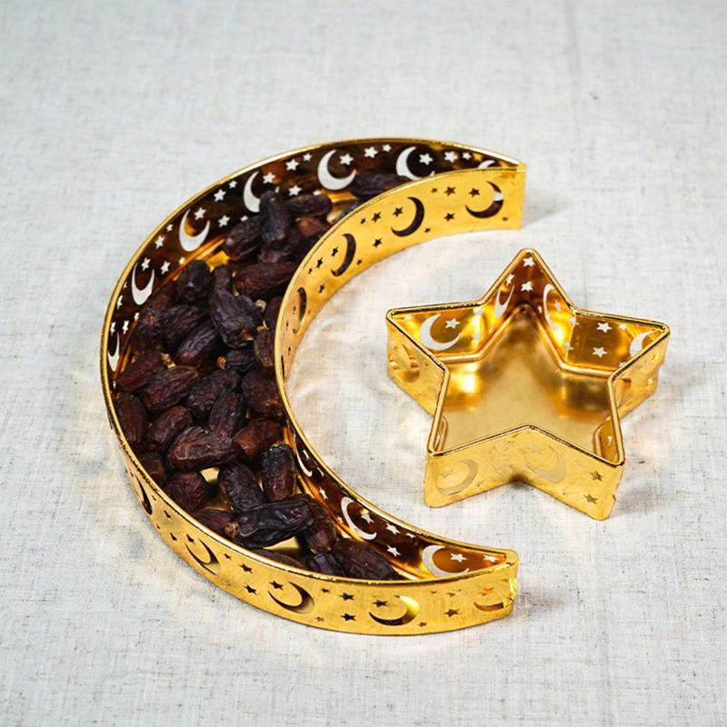 عيد مبارك مون ستار تخدم صينية أدوات المائدة حاوية تخزين الحلوى رمضان مسلم إسلامي حزب امدادات الأطباق