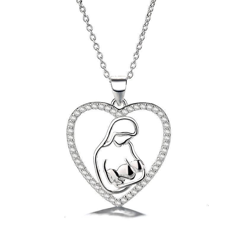 Collier S925 Sterling Sier Mère Enfant Nelace Mère Jour Mère Fashion Heart Pendentif