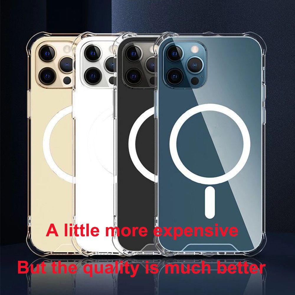 Transparente klare stoßfeste Telefonkasten für iPhone 12 12 Pro Max Cover für iPhone12 Mini 12 PRO Viereck Magnetische Telefonabdeckung