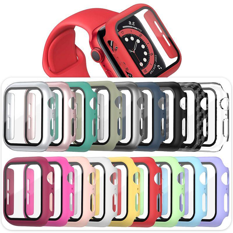 Apple Smartwatch 38mm 40mm 42mm 44mm의 PC 시계 케이스 강화 유리 화면 보호기 전체 적용 범위
