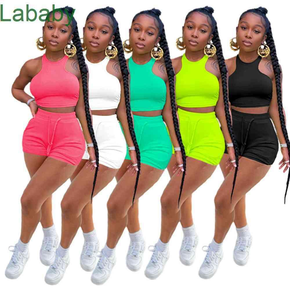Summer Women Tracksuits Two Pieces Set Designer Casual Sleeveless Vest Shorts Solid Color Jogger Sets Yoga Outfits Plus Size Sportwear