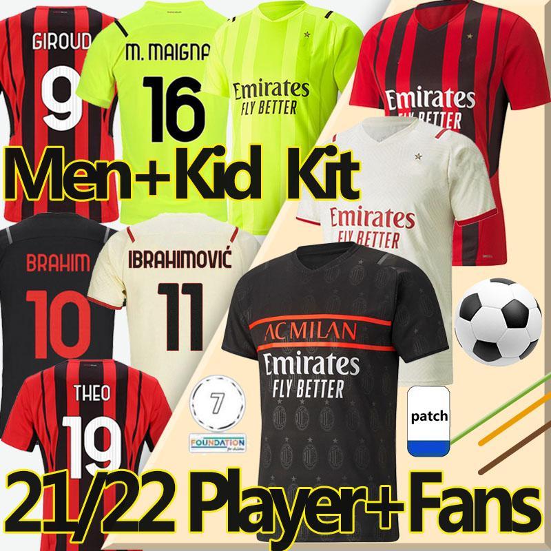 4XL 20/21 AC Milan Camiseta de Fútbol Versión Jugador Aficionado Balr Soccer Jerseys 2020 2021 milan Ibrahimovic Tonali Mandzukic Kessie Hombre Niños kits Camisetas de Fútbol