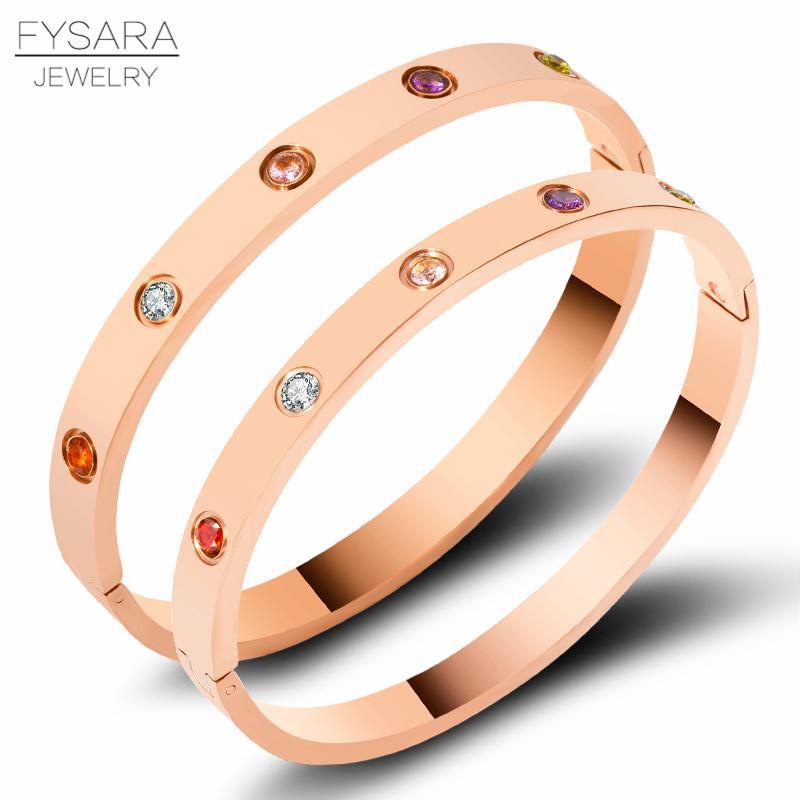 Lujo colorido zirconia cristales pulseras brazaletes de acero inoxidable tornillo brazaletes encantadores para mujeres pareja pulseiras