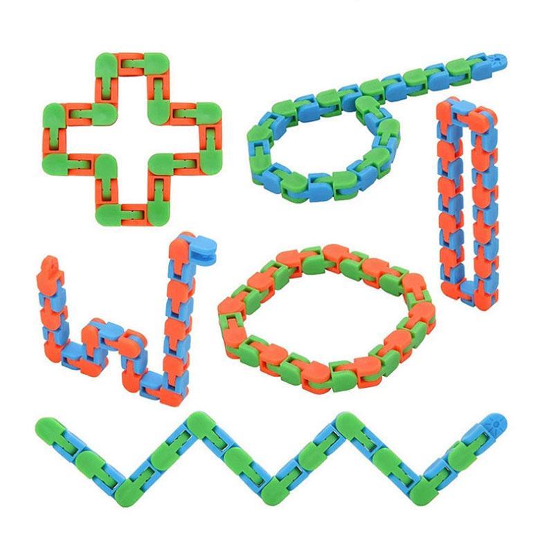Wacky Tracks Snap e clique em Fidget Toy 1 peça 24 links Cadeia de bicicleta Track Decompression Finger Sensory Toys Snake Puzzles Stress Relief