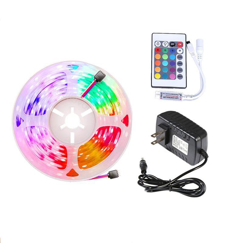 LED Strip Light 5M SMD2835 5050 300led DC12V Multicolore étanche multicolore 24Keys AC100-240V Adaptateur HDTV TV Contexte de l'écran Eub
