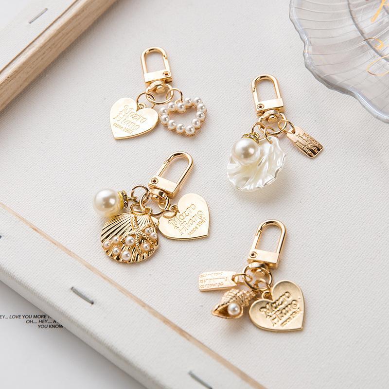 Ring Keychain Pfirsich Herz Shell Perle Schlüsselanhänger Tasche Anhänger Metall Schmuck DIY Conch