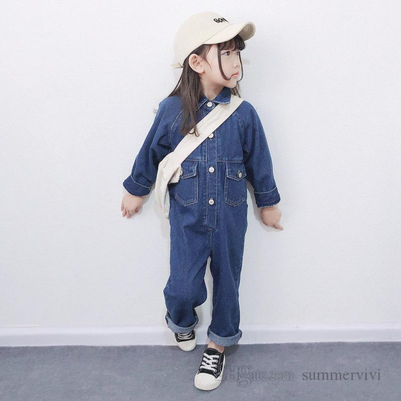 INS Kids denim jumpsuits girls lapel long sleeve cowboy overall children double pocket loose rompers mother and me matching outfits Q2206