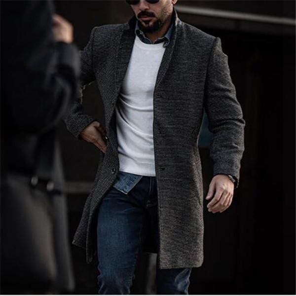 2021 Nuova primavera e autunno nuovo Cappotto a mezza lunghezza maschile in stile coreano Slim Fashion Giacca a vento Giacca Cappotti Vestiti Cappotti Cappotti Cappotti