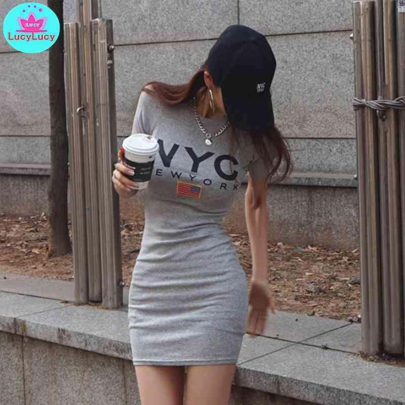 Sommer Frauen Mode Persönlichkeit Oansatz Kurzbrief Drucktasche Hüfte Kleid Büro Dame Baumwolle 210603