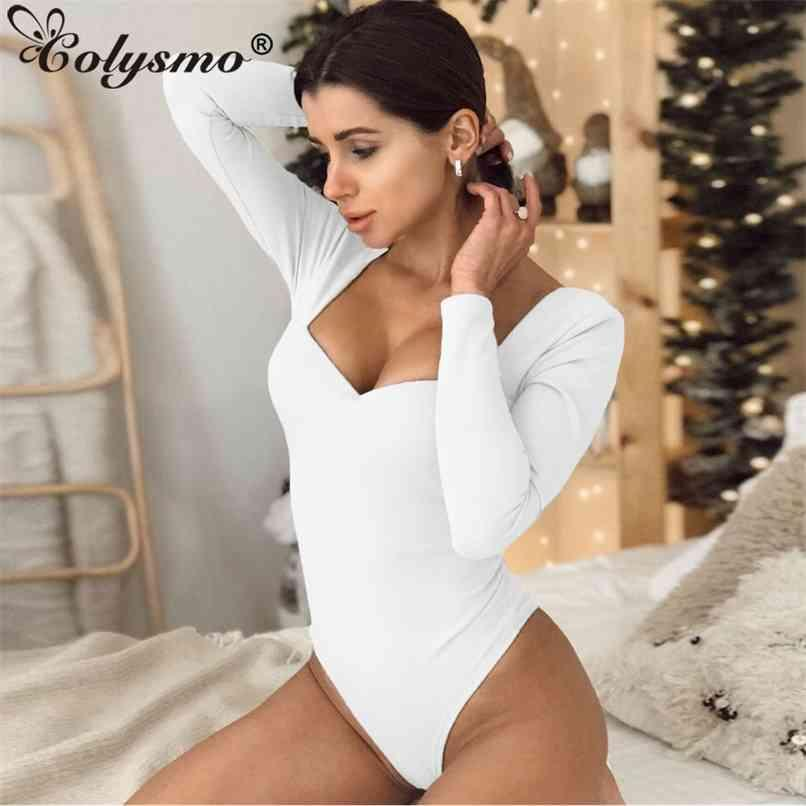 Casual Stretch Skinny Bodysuit Mulheres Manga Longa Elegante Bodysuits Solid Sous sexy Romper Fit Body Suit Club Outfits 210521