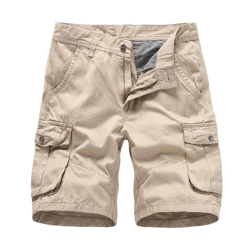 Yaz erkek Çok Cep Askeri Kargo Şort Erkek Pamuk Yeşil Erkek Casual Taktik Kısa Pantolon Hiçbir Kemer 210716