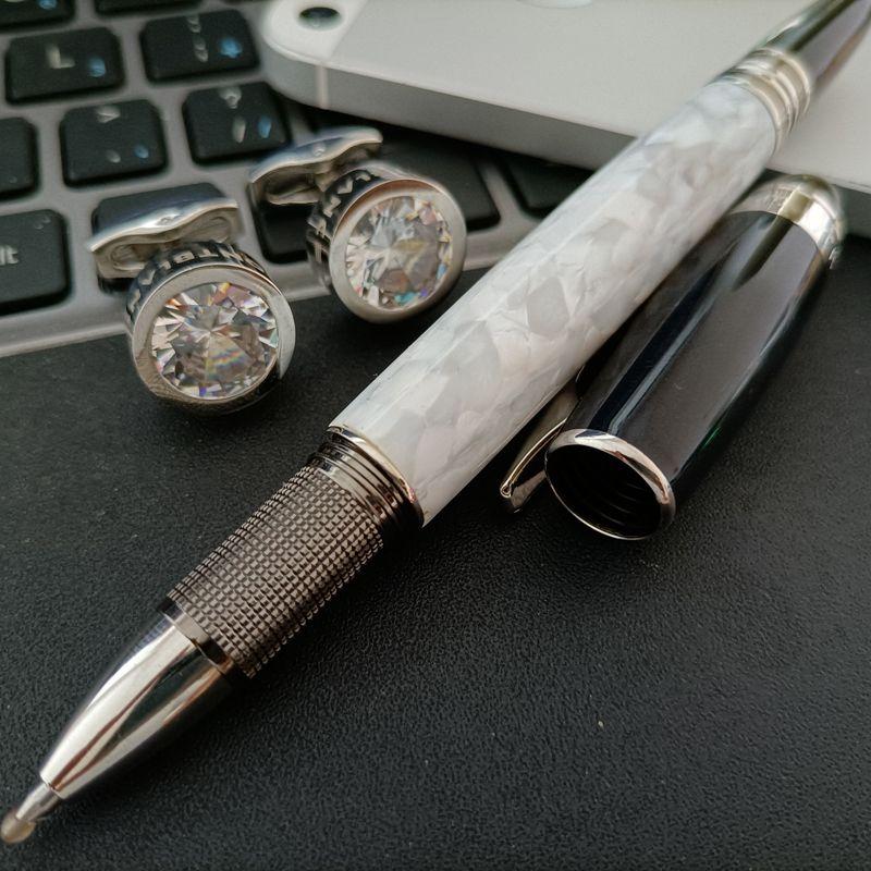 Cadeau de mariage chemise Boutons de manchette en acier inoxydable Bouffre de manchette avec boutons de manchette en métal de mode en métal en cristal argenté en résine de rollerball