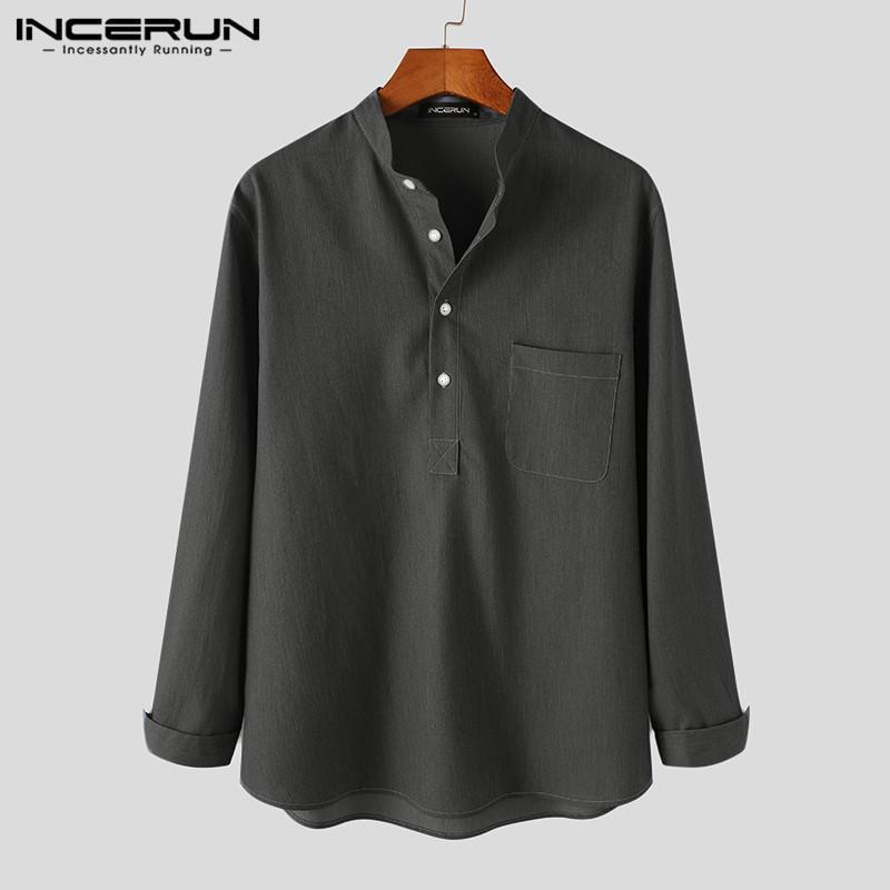 패션 남자 셔츠 브랜드 스탠드 칼라 긴 소매 한국어 블라우스 주머니 캐주얼 셔츠 Streetwear 느슨한 Camisas S-5XL 개발 남성