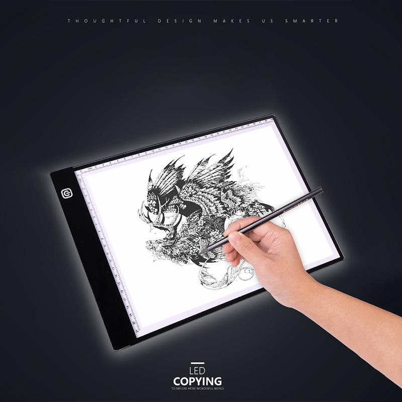 A4 LED Boîte lumineuse Tracer Tablette Tablette Digital Gadget Tablettes Graphiques Écriture Peinture Dessin Copier ultra-mince Copier Copier Panneau ArtCraft 2 modes