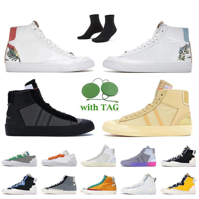 Nike Blazer Mid 77 Vintage حذاء كاجوال رجالي أبيض أسود نيلي كاتشو متعدد الألوان للنساء والرجال حذاء رياضي منخفض كلاسيكي أخضر صهاري برتقالي بدون أحذية