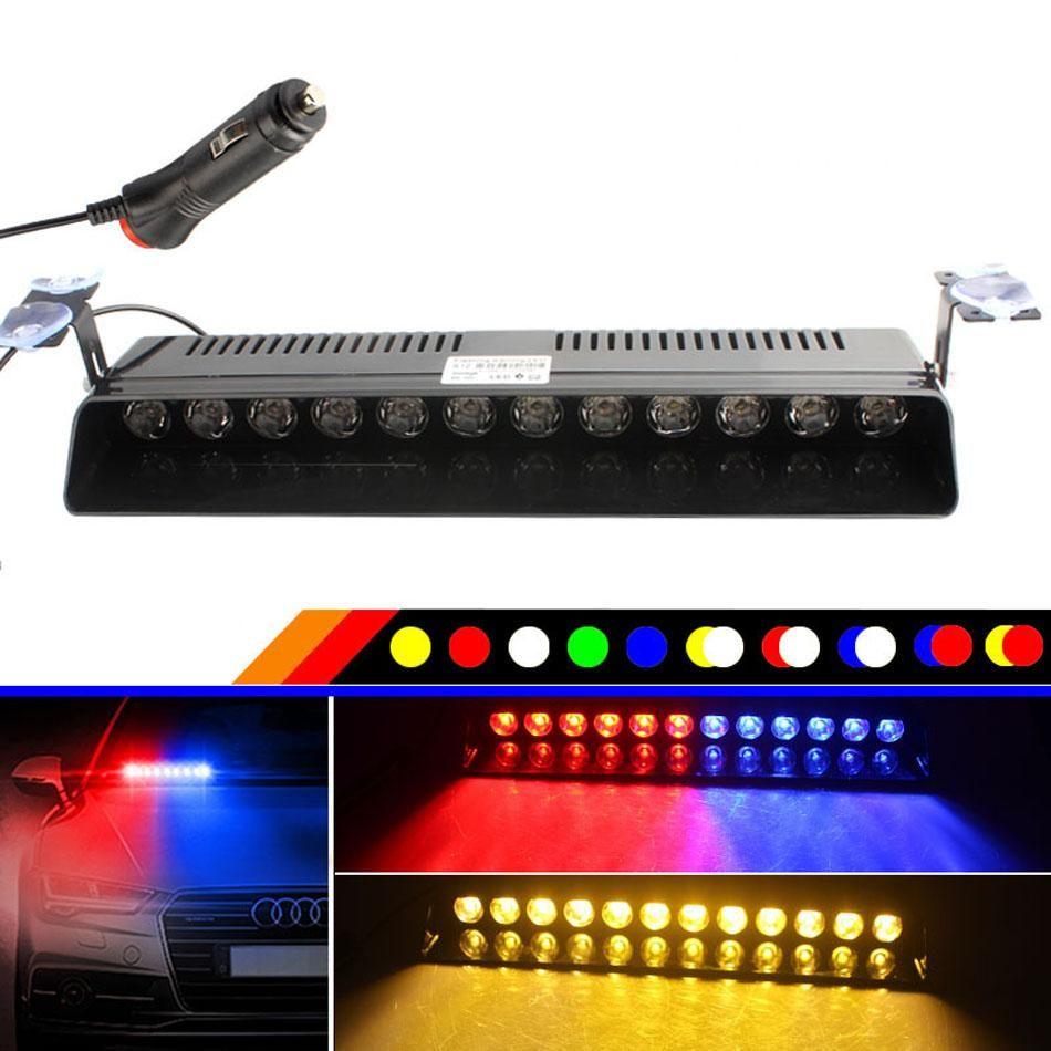 새로운 12 LED 자동차 앞 유리 스트로브 플래시 경고 윈드 스크린 자동차 라이트 깜박이 소방향 안개 긴급 차량 조명 빨간색 파란색 노란색 DC12V