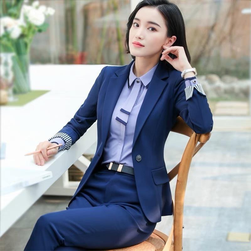 Donne 2 pezzi Set Pantaloni formali Suits Blazer Giacca Ufficio Lady Lavoro Business Uniforme Pantaloni 2019 Abbigliamento autunnale GRANDE 4XL XXL