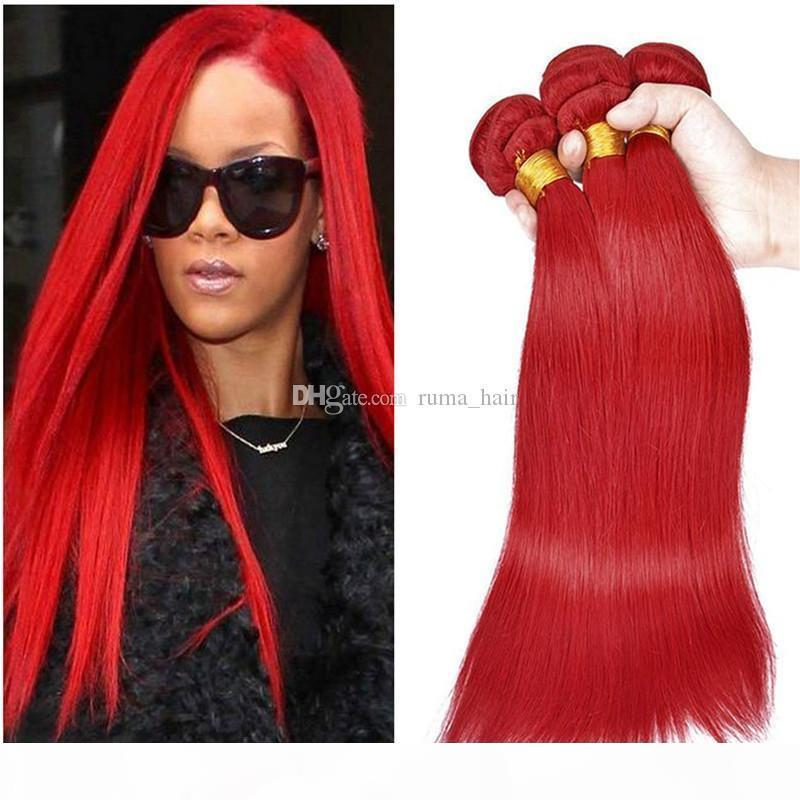 Straight Human Hair Bundles #Red Color Peruvian Indian Malaysian Mongolian Brazilian Double Weft Virgin Hair Extensions Non Remy Red Hair