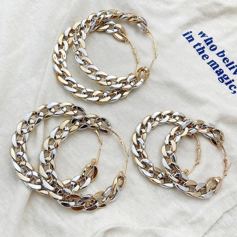 Trendy Club Büyük Kalın Zincir Daire Küpe Kadınlar Için Abartılı Geometrik Altın Gümüş Renk Hoop Küpe Parti Takı Hediye Huggie