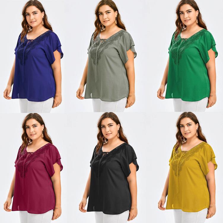Camiseta de manga corta con cuello en V de Cuello con cuello en V de las mujeres grandes Blousei52E