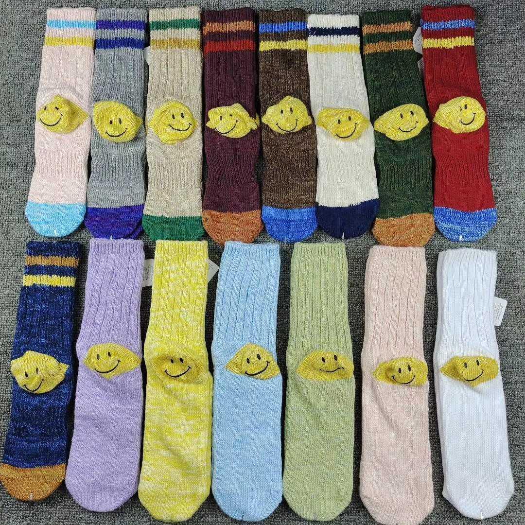 Calcetines Smiley Hirata Cara y Wang Wazishop Daily Single Kapital Color Matching Thick Line Stripe Medium Tube Socks