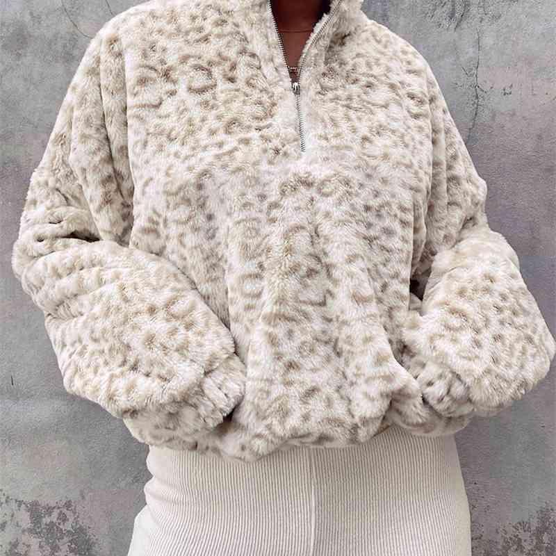 2021 동물 표범 인쇄 모피 스웨터 여성 캐주얼 겨울 따뜻한 후드 탑스 숙녀 가을 스웨터 치타 옷