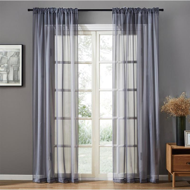Solid Colour Tulle Window Curtains For Living Room Sheer Voile Valance Drapes Bedroom Curtain Screening Blinds Modern Home Decor &