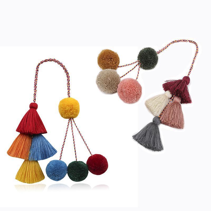 Moda El Dokuma Püskül Anahtarlık Bohemian Peluş Topu Bagaj Dekorasyon Kolye Yaratıcı DIY Hediye DWA7641