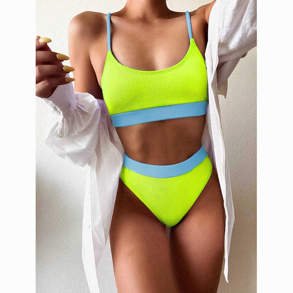 Feitiço de banho feminino Push up Patchwork Bikini Set 4 Cor Beachwear Sexy Natação Pak Bigmode Bigmode