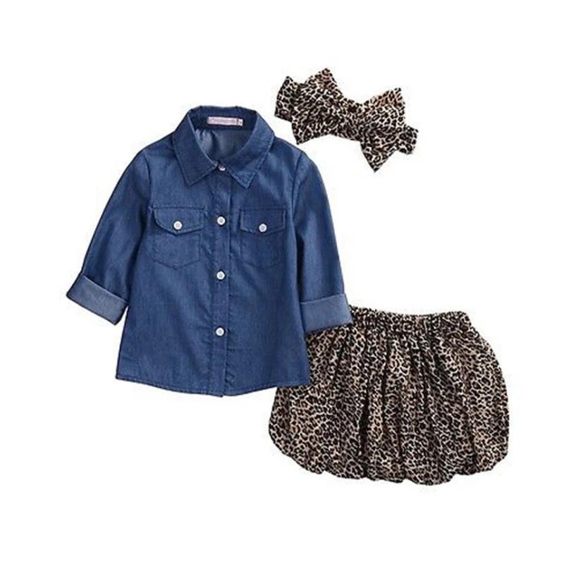 Kız Yaz Giyim Setleri Toddler Çocuklar Bebek Denim Gömlek Uzun Kollu Leopar Etek Kafa 3 adet
