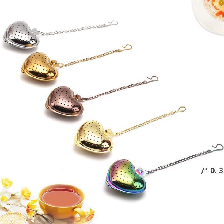 القلب الشاي infuser الفولاذ المقاوم للصدأ 304 الملونة العشبية الهدية هدية الزفاف الشاي مصفاة تصفية أدوات المطبخ FWF5948